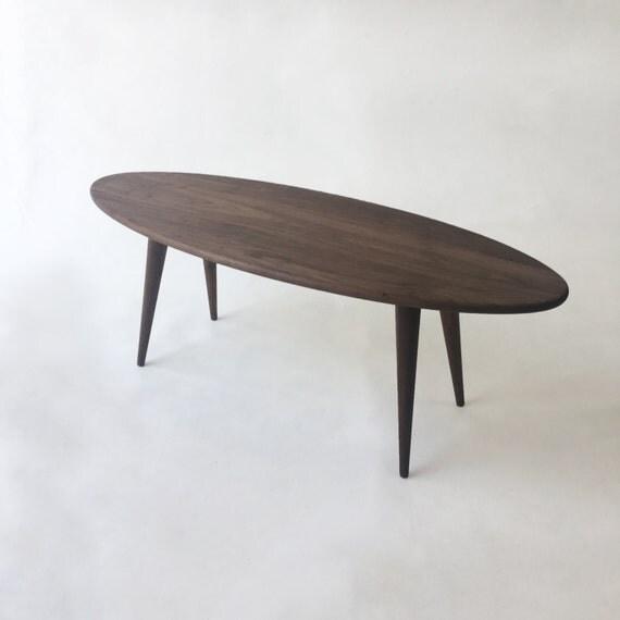 Mid Century Modern Coffee Table Solid Walnut Elliptical