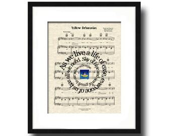 Yellow Submarine by The Bealtes Song Lyrics Sheet Music Art Print, Nursery Art, Art For Children, Beatles Music Art, Canvas Art