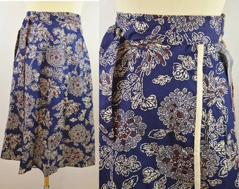 Vintage Wrap Skirt New With Tags Navy with Floral Print Cotton Size 10