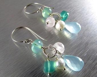 25OFF Aqua Chalcedony With Green Onyx, Rose Quartz, Pearls And Peruvian Blue Opal Earrings