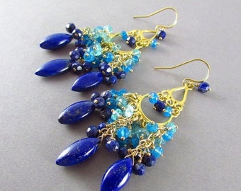 25 % OFF Lapis Lazuli With Apatite And Gold Filled Chandelier Earrings