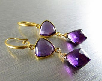 25 % OFF Purple Quartz Wire Wrapped Gold Filled  Earrings
