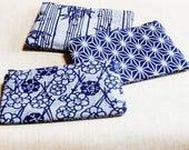 Blue Zipper Pouch, Pencil Pouch, Coin Purse, Pencil Case, Vintage Kimono Pouch, School Supply, Gift for Mom, Women, BFF, CoWorker, Accessory