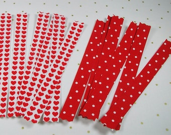 """Valentine Fabric Washi Tape, 12 (6"""") strips,Red Hearts and Polka Dots, Card Making, Happy Mail"""