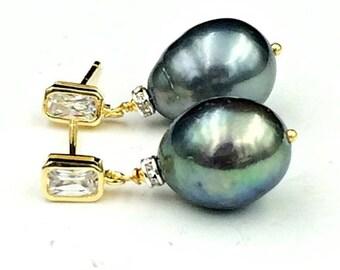 SPRING SALE Black Baroque Pearl Earrings Gold Vermeil CZ Post Earrings Black Pearl Drop Earrings Mixed Metal Cz Rondelles Pearl Wedding Jewe