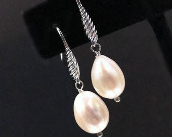 Pearl Dangle Earrings Sterling Silver Wire Wrap Simple Ivory Pearl Drop Earrings Fancy Ear Wire Bridal Wedding Earrings