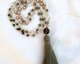 Sale 25% Beaded Tassel Necklace 14kt Gold Fill Wire Wrap Gemstone Pearl Mystic Beaded Long Necklace Tassel Jewelry Metallic Bohemian Tassel