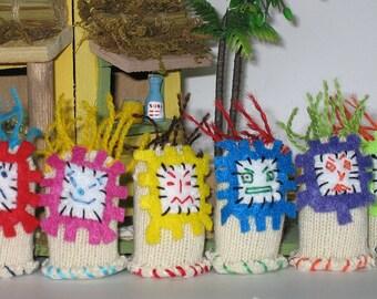 Tiki Hawaiian miniature plush  doll - knit fingerling stuffed animal