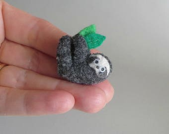 Tiny Sloth baby stuffed animal miniature felt rain forest animal - bendable