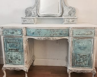 Shabby chic  Desk, white and turquoise antique shabby chic, coastal living, vanity, sofa table, Vintage entryway table, french country, farm