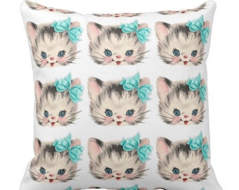 Cat's Everywhere Pillow Blue Bows Adorable