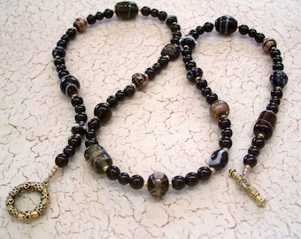 Black and Gold Fancy Beaded Necklace by Carol Wilson of Je t'adorn