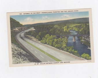 Vintage post card gateway to the west Pennsylvania turnpike and the Juniata river