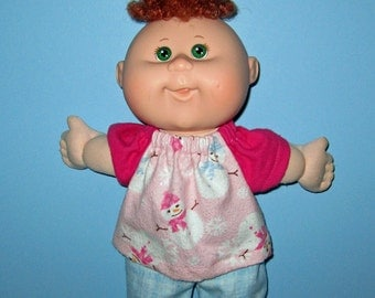 Cabbage Patch, Newborn, Teeny Tiny Preemies,  Doll Clothes, Snowman Pajamas, 10  12 inch  Cabbage Patch Newborn Doll Clothes