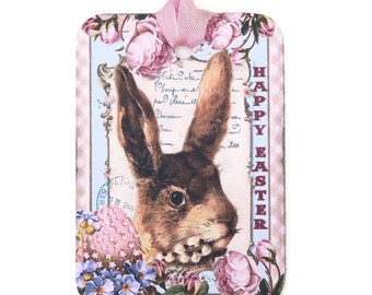 Tags Easter Gift, Vintage Bunny Rabbit Easter Tags, Easter Rabbit Tags, Pink Easter Egg, Shabby Easter Retro Tags,  Happy Easter Australia