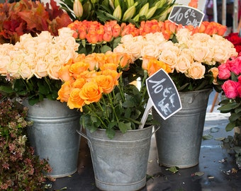 Paris Photography, Sundays in Paris, Paris Street Market, pink and orange, flower decor, nature, flower market, bathroom art, Parisian