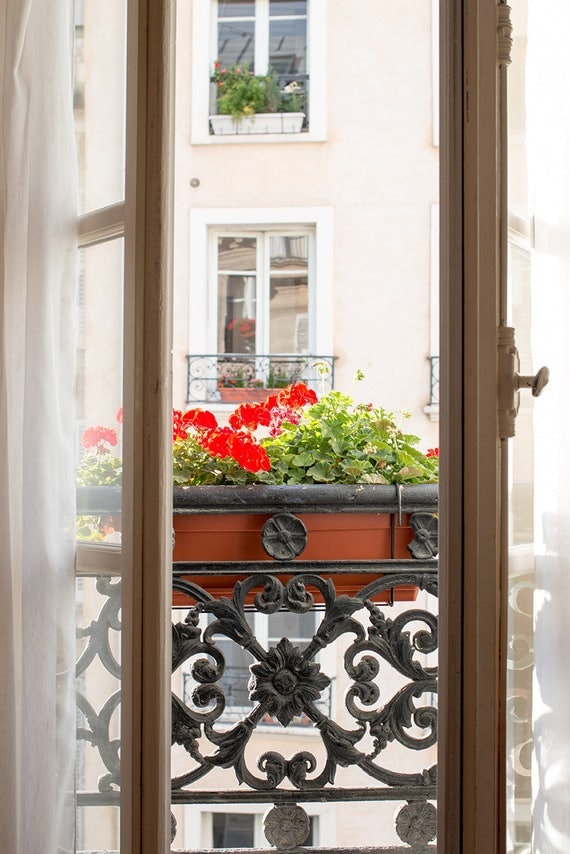 Paris Photography, Paris Balcony in the Marais, a typical Parisian window box, decor, Parisian, French, Right Bank, Rebecca Plotnick