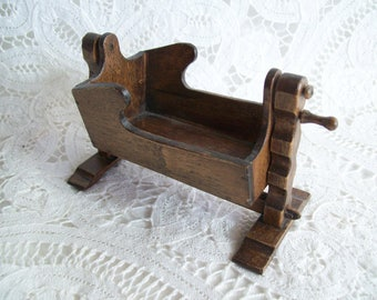Miniature, hand made, one inch scale, Rocking Cradle by EJ Miller in 1981