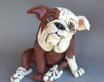 English Bulldog in Bunny Slippers Ceramic Dog Sculpture