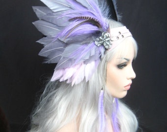 Winged headwear, winged Headpiece, Feathered headwear, Unisex headpiece, Custom:Rara Avis collection by Renegade Icon designs