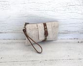 Cream Waxed Linen & Leather Smartphone Wallet, Wristlet, Clutch, Organizer, iPhone 7 Plus Wallet