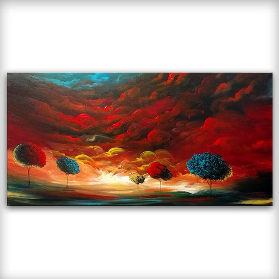 Surreal painting, large surreal art, 24x48 art, modern statement art canvas, red aqua painting, large modern art on canvas, best selling art