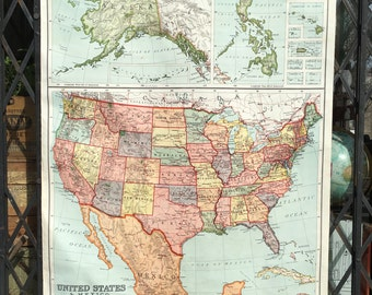 1937 Nystrom Vintage School Map of the United States Roll Up Pull Down Classroom Wall Map Hemispheres