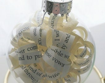 Custom Ornament - Wedding Invitation - Vows - Pick Your Book Title - Vintage Book Pages - Paper - Christmas Decor Wedding Gift
