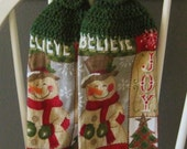 2 Crocheted Christmas Hanging Kitchen Towels - Holiday Charm