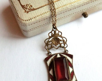 SALE Art Deco Enamel Red Glass Stone Pendant Necklace Red and White Enamel