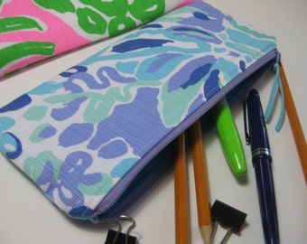 Lilly Pulitzer Perfect Pencil Pouch,Zipper Pouch,Pencil Case, Preppy, (Nice Ink)