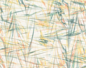 Marbled Paper with Wheat Pattern Featuring Green Yellow Ochre, Red Ochre, and Gray Earth Pigments
