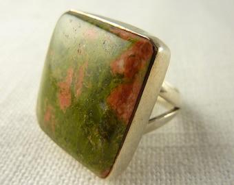 Vintage Sterling Unakite Jasper Stone Ring Size 8.5