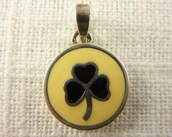 Vintage Sterling Enamel Clover Pendant