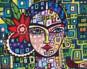 NEW Modern Cross Stitch Kit 'Abstract Frida Kahlo' By Heather Galler, Frida Kahlo Art,  Counted Cross Stitch, Mexican Folk, Colourful Stitch