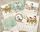NEW - Printable 2017  Calendar - Whimsical Birds - Sized 8.5 x 11 Inches - INSTANT DOWNLOAD -