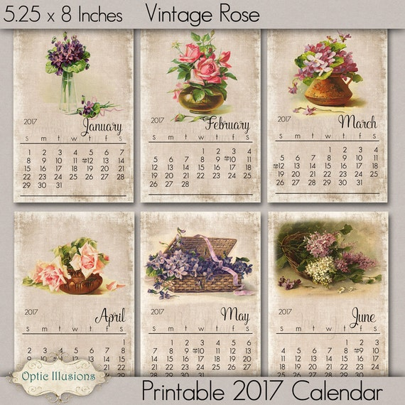Printable 2017 Calendar - Vintage Roses and Flowers - INSTANT DOWNLOAD - 5.00