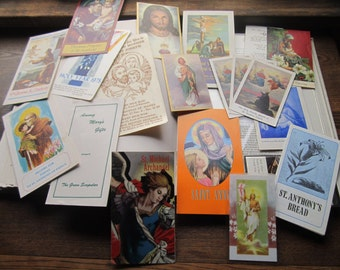 Vintage Religious Ephemera * Biblical * Saints and Patrons * 1950's 1970's Prayer Cards * Church Information * Godly Spiritual * Life Death