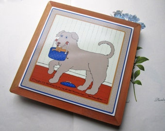 Vintage Taylor and Ng * Doggie Do Good * Tile Trivet w Wood Frame * 1982 Pop Art Kitchen Decor * Farm Table Decor * Post WWll Artist Win Ng