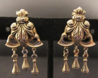 MARINO  Clip-On Gold Dangle Earrings One  Pair Vintage 70s