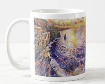 From Original Painting, Cliffs Of Moher, Clare, Ireland, Irish, Coffee, Tea, Mug