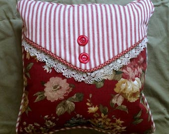 Cottage Chic Red Rose Wavely Decorative Pillow with Red ticking , Vintage Lace and buttons, Red Ticking Back.