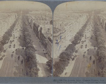 1900 Stereoview Card of Champs Elysee, Paris - Antique Photograph