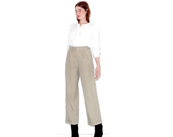 cutest vintage 90s NEWSBOY inspired TROUSERS xs small / twill texture wide leg pants high waisted pants high waisted trousers pleated pants