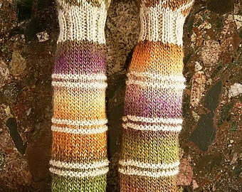 Wildling Knits Pair of Hand Knit Arm Warming Sleeves in Earthy Gradient