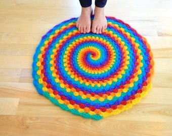 Rainbow Felted Wool Round Rug Swirly Spiral Crochet Bright Colors Unique Ready to Ship Natural Fibers