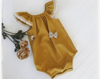 Baby mustard linen romper, toddler linen romper, baby boho linen romper,  mustard linen bohemian  baby playsuit, honey linen romper