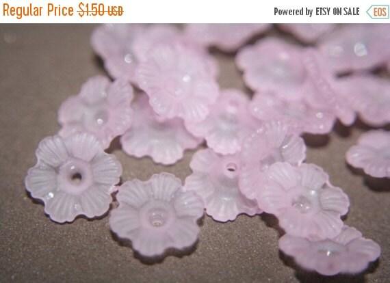 WINTER SALE SALE- Frosted Pale Pink Lucite Six Petal Flowers - 24 pcs