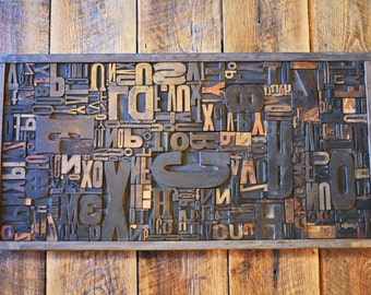 Typography Wall Art or Coffee Table - Full Drawer of Wood Type Letterpress Antique Printers Blocks Mix