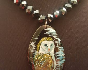 Handpainted porcelain owl pendant necklace